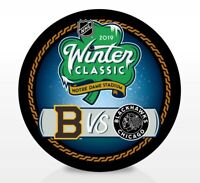 2019 Winter Classic NHL Dueling Inglasco Souvenir Puck from Notre Dame Stadium