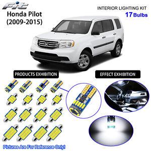 17 Bulbs LED Interior Light Kit Cool White Dome Light For 2009-2015 Honda Pilot