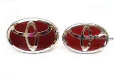 Glossy Red Front and Rear Grille Badge Emblem for TOYOTA for Many Models (2 pcs)