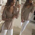 S-4XL Womens Summer Long Sleeve Shirt Casual Blouse Loose Cotton Tops T Shirt