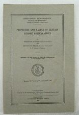1923 PROPERTIES AND VALUES OF CERTAIN FISH NET PRESERVATIVES BOOKLET