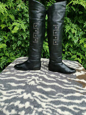 Vintage Studio Esgano Black Leather Thigh High Boots Made in Italy UK 6 EU 39