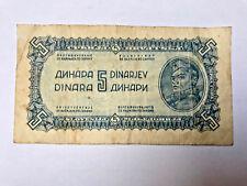 YUGOSLAVIA 5 DINARA 1944