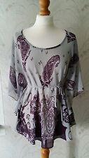 New Look Grey & Purple Paisley Floral Print Batwing Sleeve Tie Waist Top Size 10