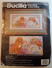 "BUCILLA Stamped Cross Stitch Kit 40488 Playful Pals Puppy Kitten Yarn 16x8"" NEW"