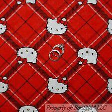 BonEful Fabric FQ Cotton Quilt Red Black White B&W HELLO KITTY Plaid Girl Stripe