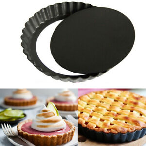UK 6x Tart Loose Base Fluted Flan Tins 10cm Quiche Pie Quick Release Baking TALA