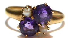 ANTIQUE VICTORIAN AMETHYST & SEED PEARL 10K YELLOW GOLD WOMENS RING SIZE 5.25