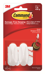 3M Command Designer Small Hooks 17082 Strong Reusable Damage Free
