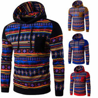 Winter Men Boho Geometric Hoodie Sweatshirt Hooded Pullover Jacket Coat Outwear