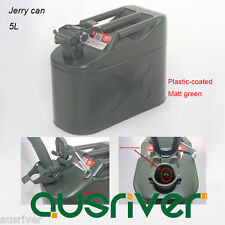 5L Jerry Can 0.6mm Steel Portable Petrol Storage Can Plastic-coated Matt Green