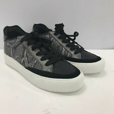 New DKNY Ladies Lace Trainers Sneakers Size UK 4.5 Grey Black Snake Print 311493