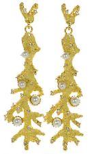 Kenneth J Lane KJL Satin Gold  Pearl Crystal Branch Drop Pierced Earrings