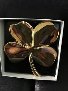 Gerity - Four Leaf Clover Shamrock 24K Gold Plated Paperweight / Wallhanging