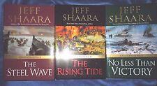 LOT 3 Bks by Jeff Shaara World War ll HC/DJ 1st/1st No Less Than Victory Rising