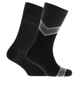 Genuine Hugo Boss RS Grey & Black Chevron Stripe Socks 2pack UK 5,5-8 BNWT