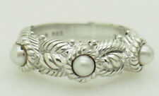 Solid Sterling Silver/925 JUDITH RIPKA 3 Station Pearl Rope Cocktail Band Ring 5