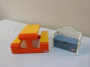 Little Tikes Dollhouse Doll Yellow Orange Picnic Table Bench and Blue Toy Box