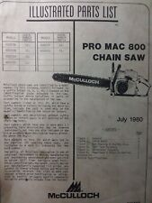 Mcculloch Chain Saw Pro Mac 800 Parts Catalog Manual 2 Cycle Gas Chainsaw 1980