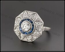 1.30ct Round Diamond Art Deco Sterling Silver Engagement & Wedding Vintage Ring