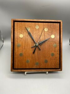 Stile Craft Mid Century Modern Teak Clock, Model #86X
