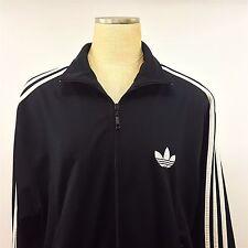 Adidas Track Warm Up Jacket Large Black White Stripes Full Zipper Trefoil Logo