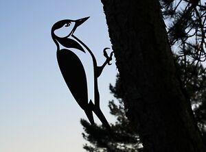 Woodpecker metal tree art for the garden Steel Rusty Silver Copper wall