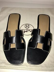 Hermes Icon Authentic Oran Sandal Black Size EU 39 , Uk 6