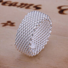 Free shipping wholesale Sterling solid silver fashion jewelry mesh Ring SR040