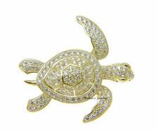 baádo en oro amarillo PLATA DE LEY 925 HAWÁI Sea Turtle Pendiente