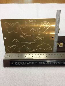 MULTI IMAGE #2 MASTER TEMPLATE BRASS ENGRAVING PLATE FOR NEW HERMES FONT TRAY
