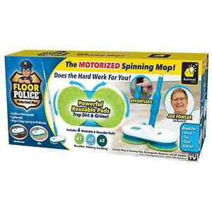 Original As Seen On TV Floor Police Motorized Spin Mop by BulbHead, Cordless Mop
