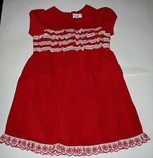 NUEVO Hanna ANDERSSON Fiesta Vacaciones Vestido Rojo Pana FRUNCIDO DELANTERO