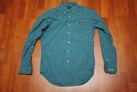 Polo Ralph Lauren Men's Shirt 14.5 Small S Classic Fit Green Blue Plaid Check