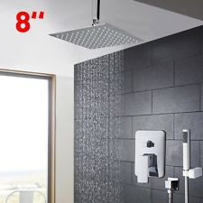 "Ceiling Mounted Bathroom SlimOverhead Chrome 8"" Rain Shower Faucet  Mixer Tap"