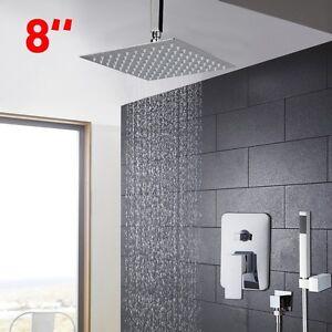 "Ceiling Bathroom 8"" Rainfall Shower Head + Control Valve Hand Spray Mixer Faucet"