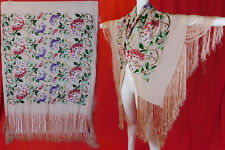 Vintage 1920s Pink Silk Pastel Embroidered Hydrangea Flower Flapper Piano Shawl
