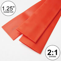 """1.25"""" ID Red Heat Shrink Tubing 2:1 ratio 1-1/4"""" wrap (2 feet) inch/ft/to 30mm"""
