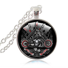 BIKER  pendant necklace ACE POKER GAME motorcycle man woman  FREE GIFT $20 GIFT