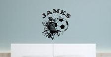 Football breaking wall and name,Wall Art Boys Room Sticker Vinyl