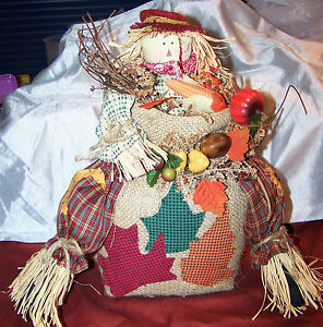 """FALL AUTUMN DECOR~HALLOWEEN~SCARECROW SITTER~TABLE TOPPER~12 1/2"""" TALL~NEW~BOX"""