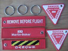 AVIATION SET OF 3 MARTIN BAKER EJECTION SEAT DANGER KEYRINGS ..  UK SELLER,,..