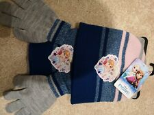 Disney Frozen Knitted 3 Piece Set Beanie Hat Winter Scarf and Gloves 1-12 Years