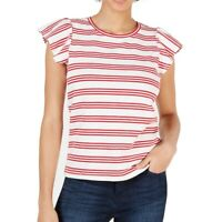 Maison Jules Women's Top Red Size XS Knit Flutter Sleeve Striped $39 #276