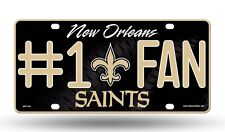 NEW ORLEANS SAINTS #1 FAN CAR / AUTO LICENSE PLATE TAG NFL FOOTBALL 3D EMBOSSED