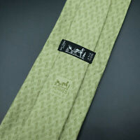 Hermes Paris Made In France Green Geometric H Pattern Silk Tie 7855 UA