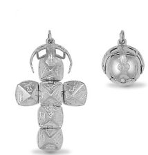 More details for new 925 sterling silver masonic opening orb cross ball pend charm large size