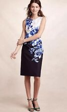NEW Anthropologie Vanda Sheath Dress Size 14 Blue Floral Maeve