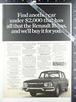 2) ADVERTISEMENTS 1968 Jaguar XKE & Renault 10 bumper grille hood trim shots