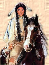Indian Girl on Horse cross stitch pattern